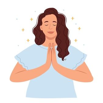 Vrouw aan het bidden mooie vrouw mediteert zen en ontspanning