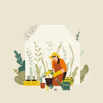 Vrouw aanplant tuinen bloemen landbouw tuinman hobby