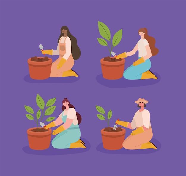 Vrouw aanplant van een pot set