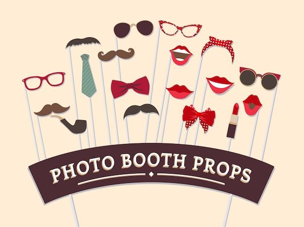 Vrouw accessoires foto booth rekwisieten vector