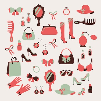 Vrouw accessoires pictogrammen instellen