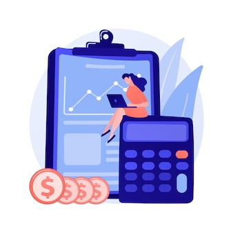 Vrouw accountant stripfiguur. verklaringanalyse, budgetplanning, boekhoudkundige werking, financiële audit. vrouw die aan inkomensstatistieken werkt.