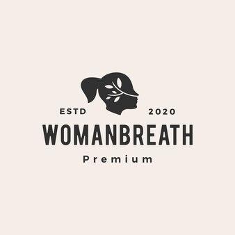 Vrouw adem hipster vintage logo pictogram illustratie