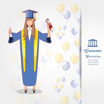 Vrouw afgestudeerd met uniform karakter