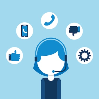Vrouw agent call center klantenservice vector illustratie