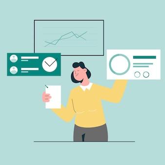 Vrouw analyse bedrijfsgegevens rapport concept