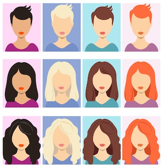 Vrouw anonieme avatars. vrouwelijke menselijke anonieme portretten, vrouw rechthoekige profiel avatar iconen, website gebruikers hoofdfoto's.
