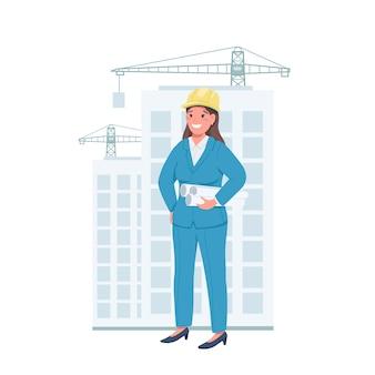 Vrouw architect egale kleur gedetailleerd karakter. vrouw werkt op de bouwplaats. vrolijke werknemer. genderevenwicht geïsoleerde cartoon afbeelding voor web grafisch ontwerp en animatie