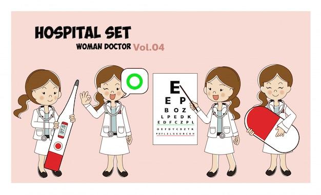 Vrouw arts cartoon stijlenset. illustratie geïsoleerd. ziekenhuis set. medische activiteiten.