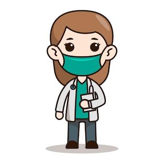 Vrouw arts chibi characterdesign met masker