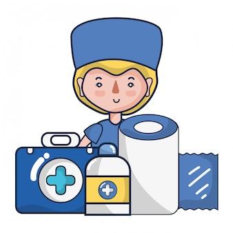 Vrouw arts en medische cartoons