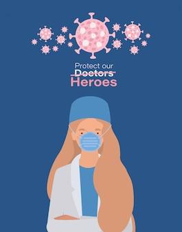 Vrouw arts held met uniform masker en 2019 ncov virusontwerp