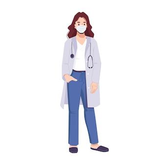 Vrouw arts in masker dragen chirurgische medische uniform en stethoscoop stripfiguur werken