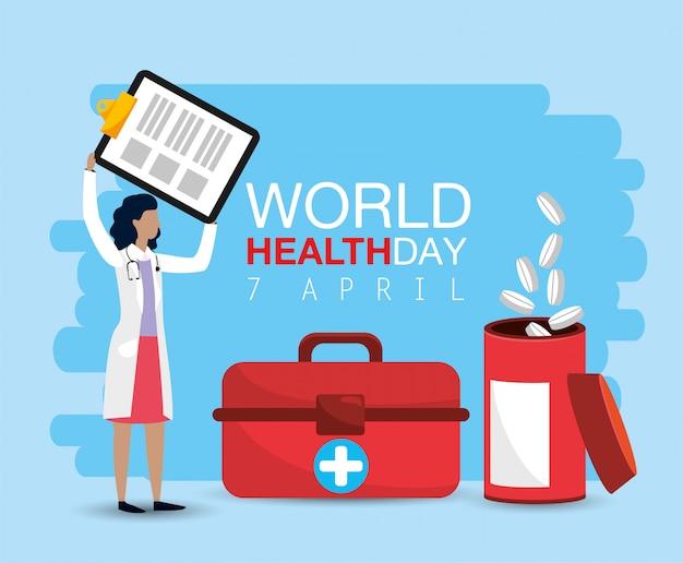 Vrouw arts met controlelijst aan gezondheidsdag
