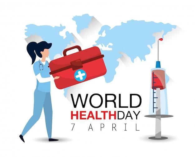 Vrouw arts met eerste hulp en spuit aan gezondheidsdag