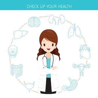 Vrouw arts met menselijke interne organen lijn icons set