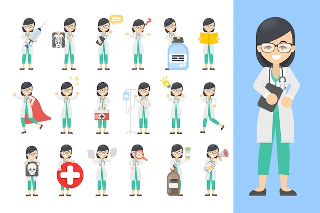Vrouw arts set. poseren en emoties met apparatuur.