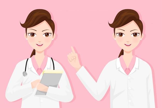 Vrouw arts ziet er goed uit in hun laboratoriumjassen.