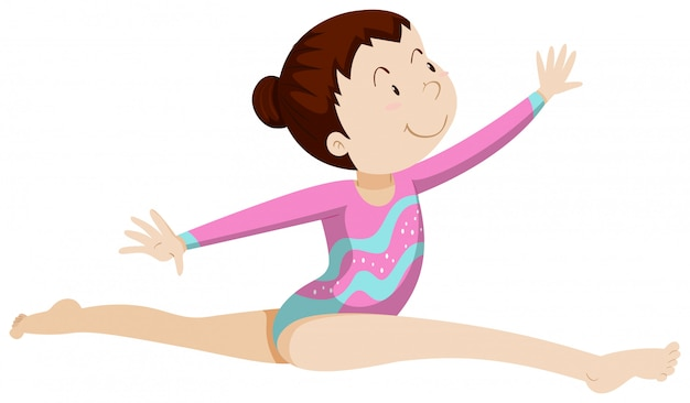Vrouw atleet doet gymnastiek