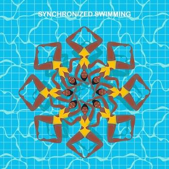 Vrouw atleet over de prestaties van synchroonzwemmen. verzameling van vector-elementen in het synchroonzwemmen van vrouwen.
