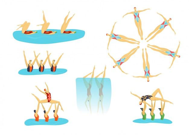 Vrouw atleten gesynchroniseerd zwemmen in groep, zwemmers meisjes sport set van geïsoleerde illustraties.