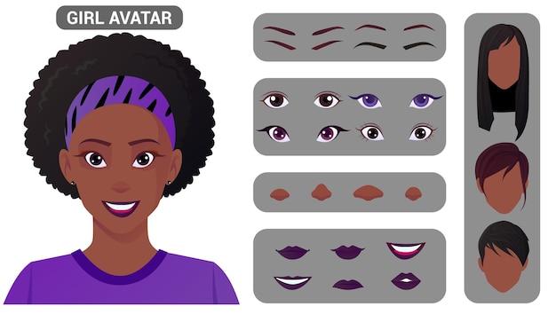 Vrouw avatar creation pack en gezichtsconstructie.