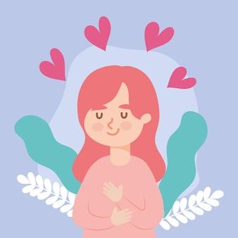 Vrouw avatar met harten meisje vrouwelijke persoon