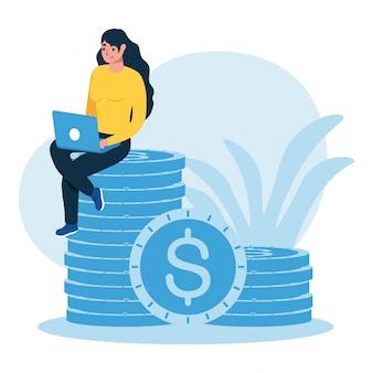 Vrouw avatar met laptop en munten
