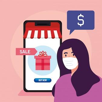 Vrouw avatar met masker cadeau en smartphone van shopping online e-commerce markt detailhandel en koop thema illustratie