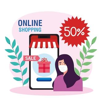 Vrouw avatar met masker en smartphone van shopping online e-commerce markt detailhandel en koop thema illustratie