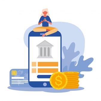 Vrouw avatar met smartphone en bank