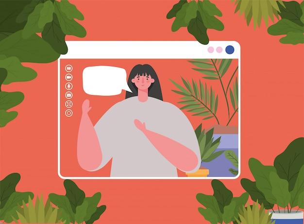 Vrouw avatar met zeepbel op website in videochat ontwerp