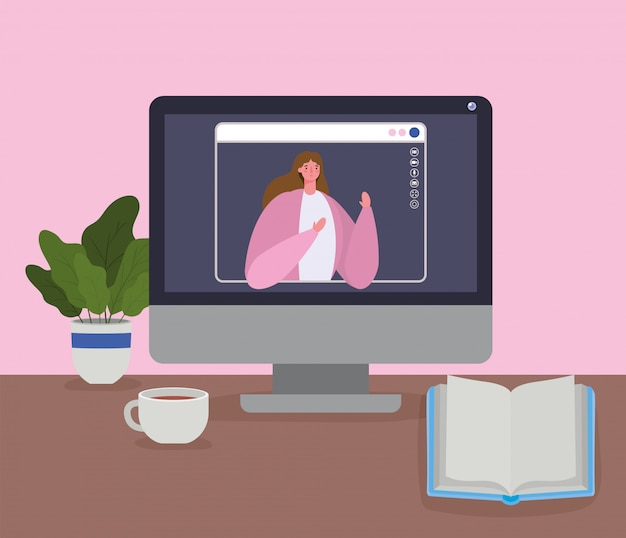 Vrouw avatar op computer in videochat