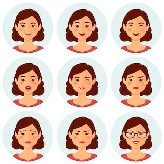 Vrouw avatars gezichtsuitdrukkingen