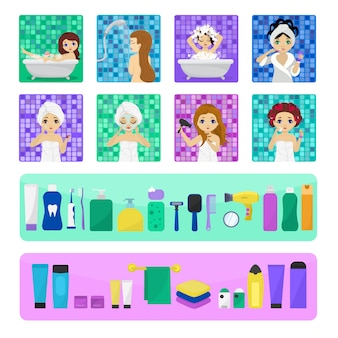 Vrouw badend in badkamer vector mooi meisje teken wassen in bad illustratie set
