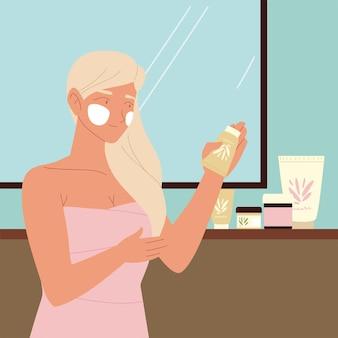 Vrouw badkamer zelf huidverzorgingslotion