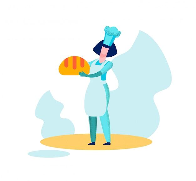 Vrouw baker chief holding brood gebakken productie