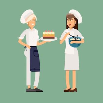 Vrouw bakken cake