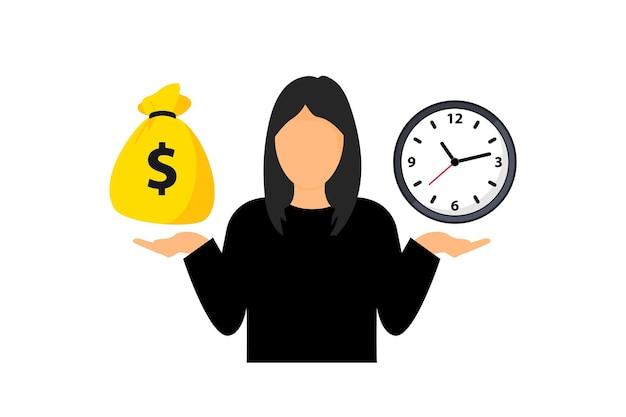 Vrouw balanceert tijd en geld. tijd is geldconcept. beslissingen nemen tussen geld en klok