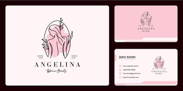 Vrouw beauty spa en salon esthetiek van het logo-ontwerp van het achterste lichaam met visitekaartje
