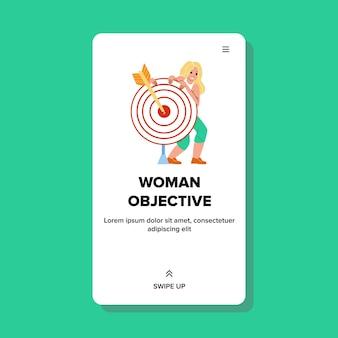 Vrouw bedrijfsdoelstelling en strategieplan vector. jonge zakenvrouw doelstelling en succes doel bereiken, dame permanent in de buurt van doel doel met pijl. karakter web platte cartoon afbeelding