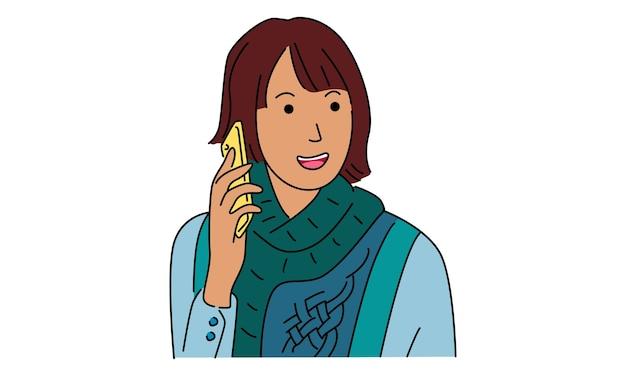 Vrouw belt iemand met een mobiele telefoon