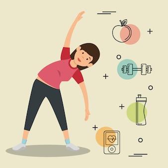 Vrouw beoefenen oefening met sport pictogrammen