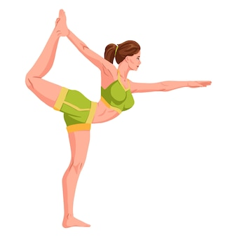 Vrouw beoefenen van fitness yoga gym gymnastiek. banner met illustratie van een vrouw die yoga of pilates op mat doet. vrouw die oefening doet. jong meisje staande uitrekkende houding vector illustratie