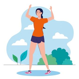 Vrouw beoefenen van oefening buiten, sport recreatie oefening
