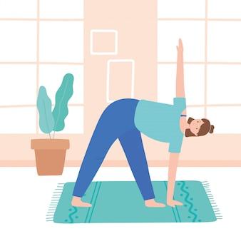 Vrouw beoefenen van yoga parsvakonasana vormen oefeningen, gezonde levensstijl, fysieke en spirituele praktijk illustratie