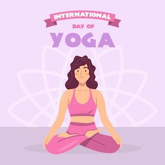 Vrouw beoefenen van yoga plat ontwerp