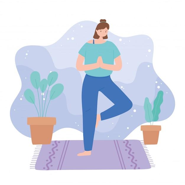 Vrouw beoefenen van yoga vrksasana vormen oefeningen, gezonde levensstijl, fysieke en spirituele praktijk illustratie