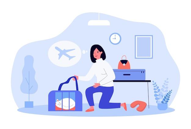 Vrouw bereidt zich voor op vlucht op vliegtuig met geliefd huisdier. platte vectorillustratie. meisje dat vervoerder neemt met slapende kat, koffers en naar het vliegveld gaat. reizen, huisdier, dier, familie, vliegtuigconcept