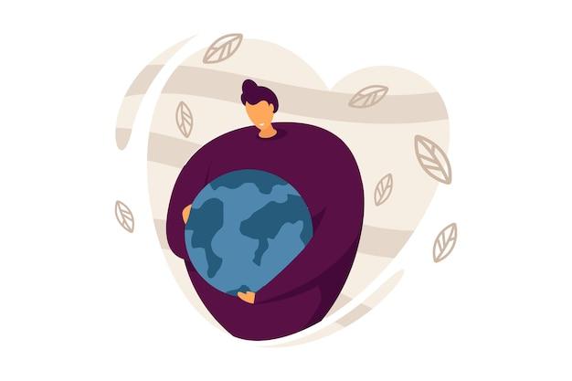 Vrouw bescherming van de aarde platte vectorillustratie. jonge vrouw omarmt groene planeet met zorg en liefde. aardedag, milieu, ecologieconcept voor banner, websiteontwerp of landingswebpagina.